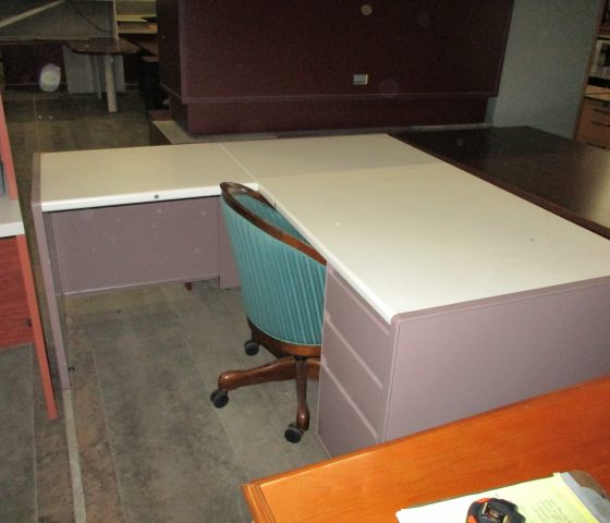 Beige Metal L Shaped Desk Twin Cities Used Office Furniture