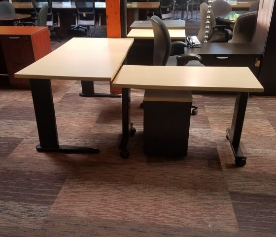 Blonde Table Desk With Side Table Twin Cities Used